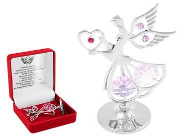 Anioł Różowy z Sercem Swarovski DEDYKACJA