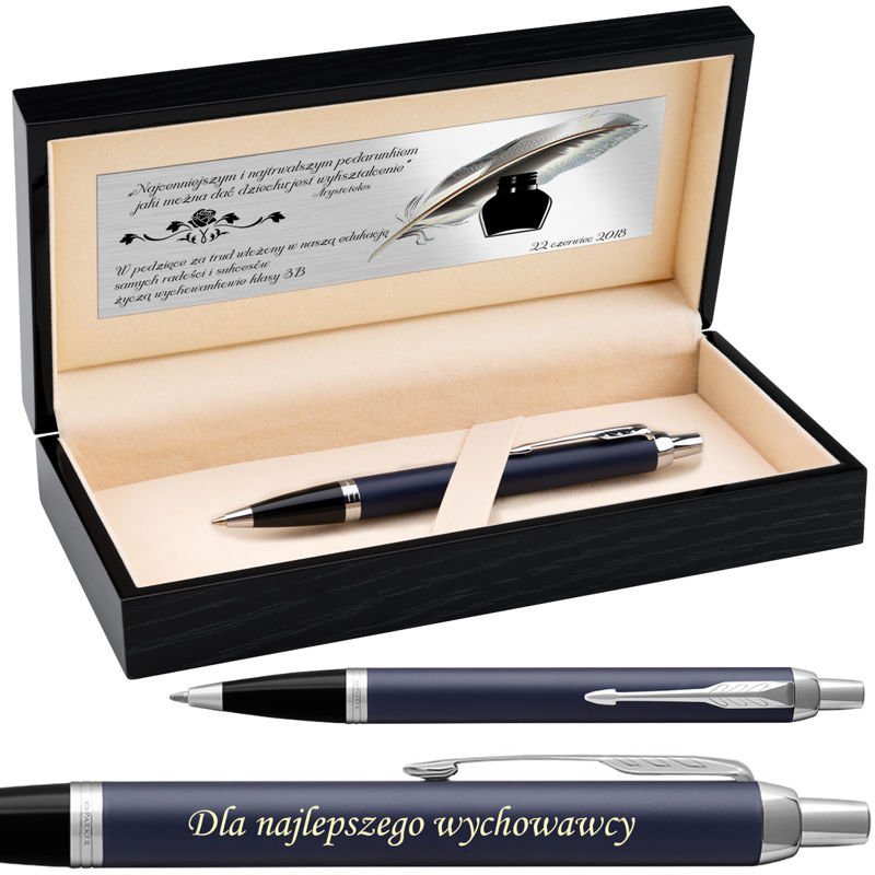 Długopis Parker IM Niebieski Mat CT Drewniane etui Grawer