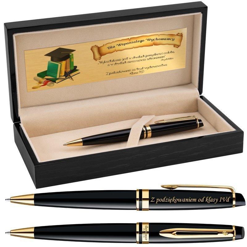 Długopis Waterman Expert czarny GT Grawer Drewniane pudełko