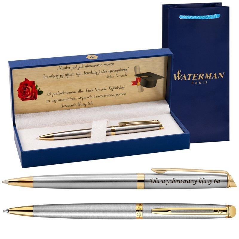 Długopis Waterman Hemisphere stalowy GT z Grawerem Etui Torebka