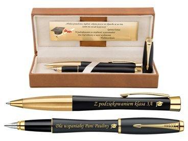 Eksluzywny Zestaw Parker Urban Czarny Pióro wieczne i Długopis Grawer Dedykacja Etui