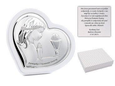 Obrazek srebrny na białym drewnie dziewczynka Grawer pamiątka na I Komunia Św. DEDYKACJA