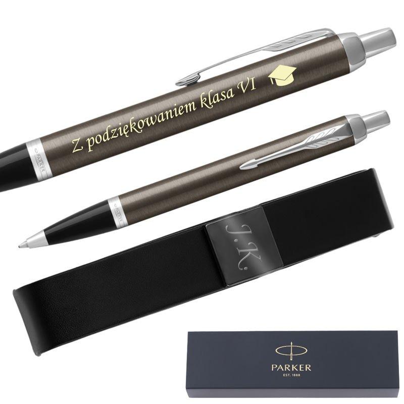 Parker IM Długopis Dark Espresso CT + Etui Grawer