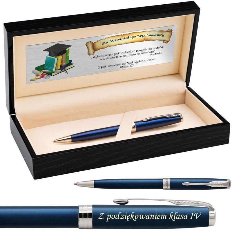 Parker Sonnet CT Długopis Blue Lacquer Drewniane etui Grawer