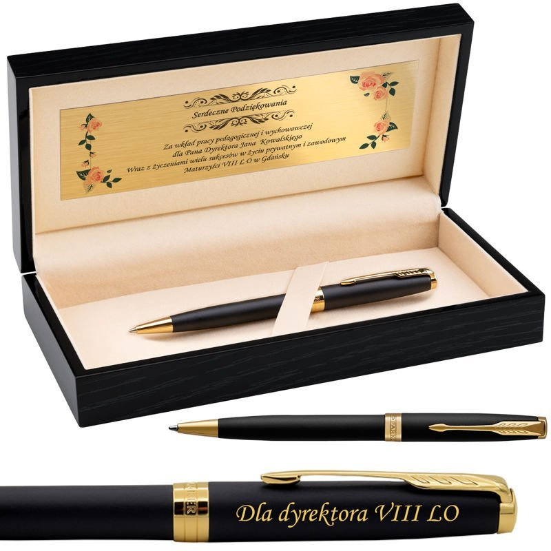 Parker Sonnet GT Długopis Czarny Mat w drewnianym etui Grawer