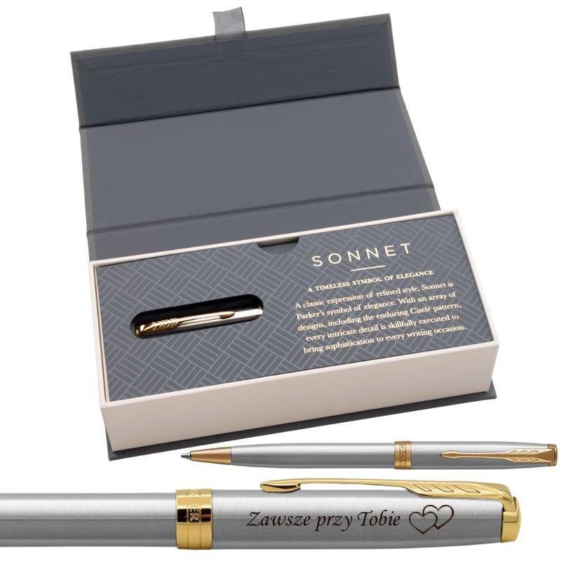 Parker Sonnet GT Długopis Stainless Steel w eleganckim etui Grawer