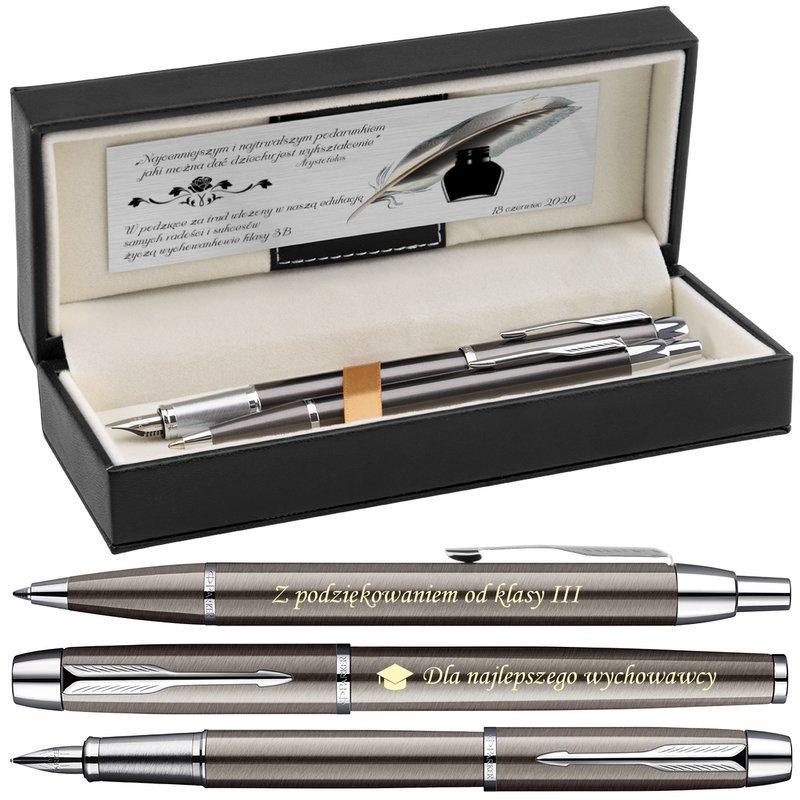 Zestaw Parker IM Gun Metal CT Pióro + Długopis + Czarne Etui Grawer