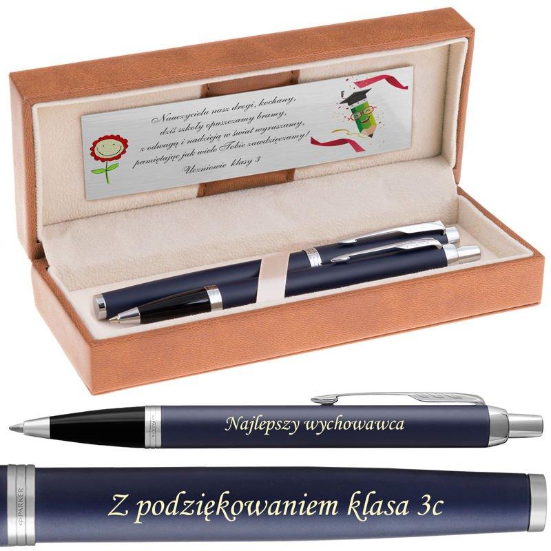 Zestaw Parker IM Pióro + Długopis Blue Mat CT Grawer