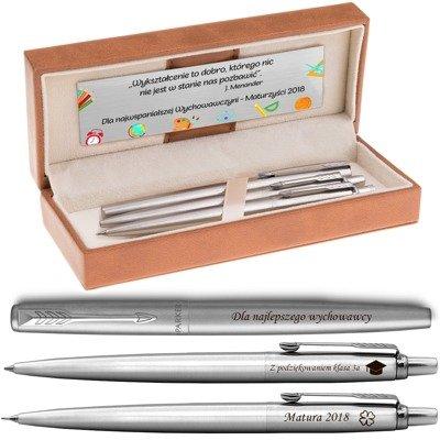 Zestaw Parker Jotter stalowe CT Pióro+Długopis+Ołówek Grawer