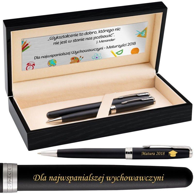 Zestaw Parker Sonnet CT Pióro+Długopis Czarny Mat w drewnianym etui Grawer