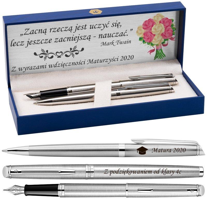 Zestaw Pióro + Długopis Waterman Hemisphere stalowy CT z Grawerem