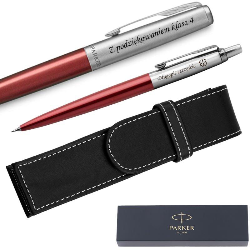 Zestaw Pióro + Ołówek Jotter Parker Czerwony CT + Etui Grawer