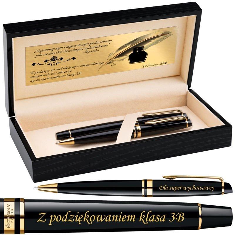 Zestaw Pióro i Długopis Waterman Expert Czarny GT Grawer Drewniane pudełko