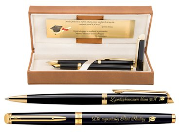Zestaw Pióro wieczne i Długopis WATERMAN HEMISPHERE czarny GT Grawer Dedykacja etui