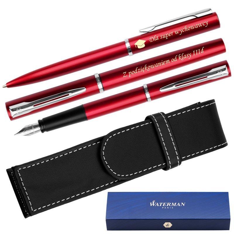 Zestaw Waterman Pióro + Długopis Allure Czerwony CT + Etui Grawer