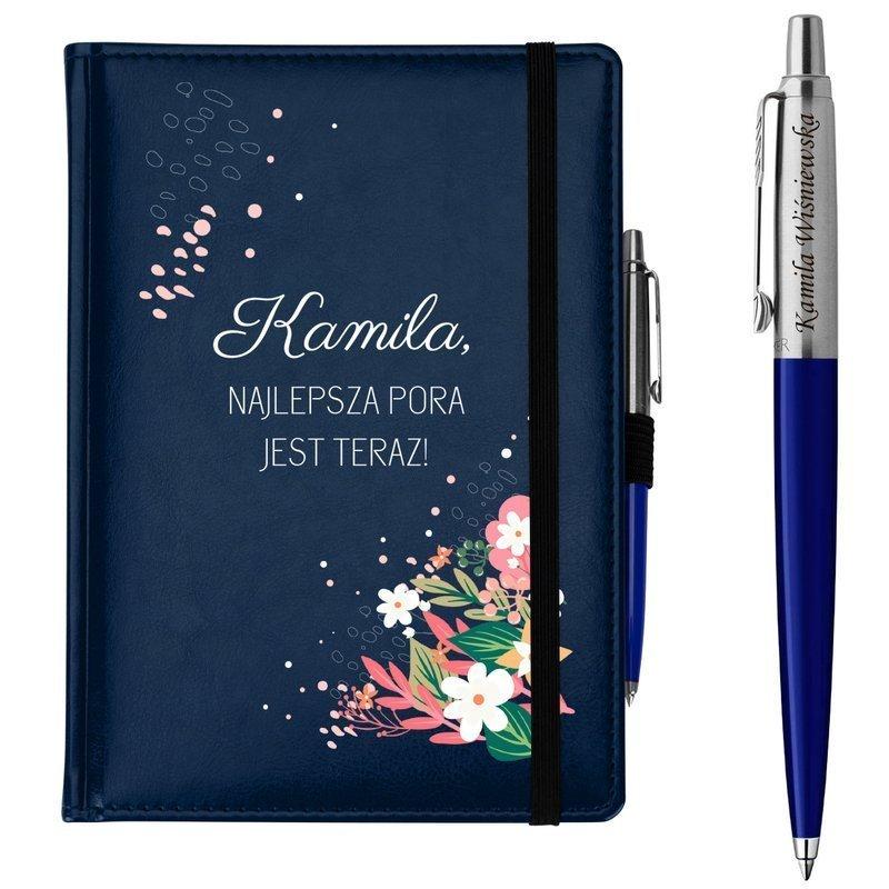 Zestaw notes reklamowy z długopisem A5 Nebraska Niebieski z Nadrukiem